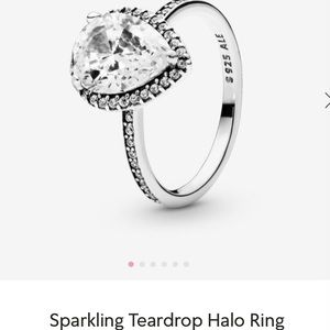 Authentic Pandora sparkling halo teardrop ring